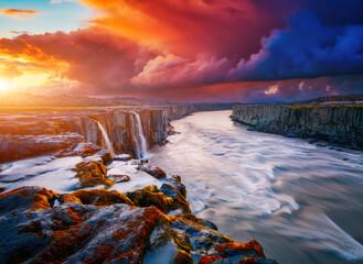 Mighty stream of breathtaking Selfoss cascade. Location place Vatnajokull National Park, Iceland.