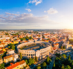 Exotic view at famous european city of Pula and arena of roman time.