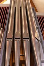 Vertical Closeup Shot Of Organ Pipes