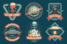 UFO Badge With Alien Vintage Set. Space Retro Emblem With Alien Spaceship. Vector Illustration.