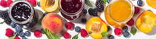 Assortment Of Summer Seasonal Berry And Fruits Jams In Small Jars, Homemade Preserving Concept, Marmalades Or Confitures With Fresh Berries On White Background Copy Space