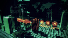 Security Access Alert Message Over Holographic Cyber City And Buildings. 3D Render. Digital Green Computer.