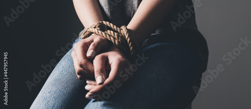 Fotografering young woman's hands are tied