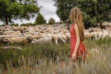 Adult Woman With Long Hair Wearing A Red Dress In A Meadow With A Herd Of Sheep On It