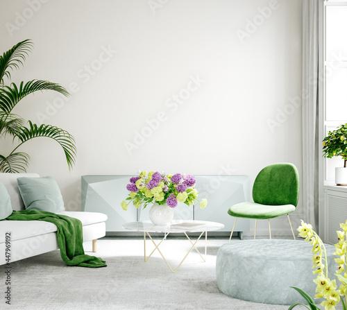 Fotografía Furnished modern home interior in light pastel colors, 3d render