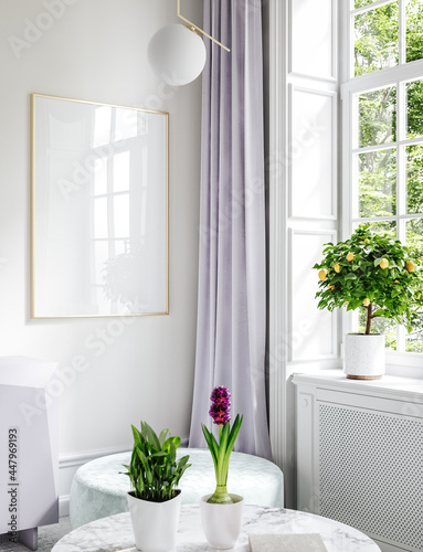Cuadros en Lienzo Furnished modern home interior in light pastel colors with poster mockup, 3d ren