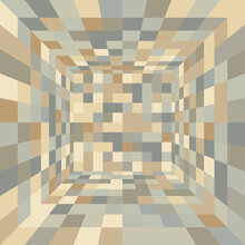 A 3D View Of Chessboard Mosaic Pattern