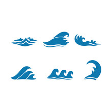Set Of  Blue Waves Icons Isolated White Background. Vector Illustration