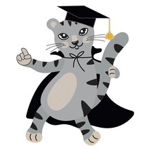 Cute Gray Cartoon Kitten Wearing A Graduation Hat And Cape. The Smart Cat Is Ready To Learn. Back To School. Educational Mascot. Isolated Vector. Cat Character Design As Postcard, Banner, Poster.