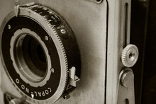 Abstract Close-up Of Vintage Old Camera In Black And White