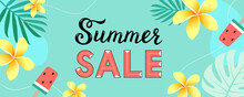 Colorful Summer Sale For Website Banner, Promotional Material, Tag. Design For Social Media Banner, Poster, Email, Web Sticker, Newsletter, Ad, Brochure. Vector Illustration On Turquoise Background