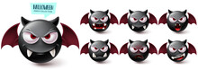 Smileys Halloween Emoji Vector Set. Smiley Emojis Creepy Bat Character Collection Isolated In White Background For Graphic Design Elements. Vector Illustration