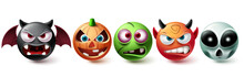 Smileys Halloween Vector Set. Smiley Emojis Halloween Character Graphic Elements In Creepy, Horror And Scary Character Collection Isolated In White Background. Vector Illustration
