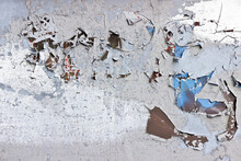Detail Of Peeling, Cracked And Flakey Paint On A Metal Surface