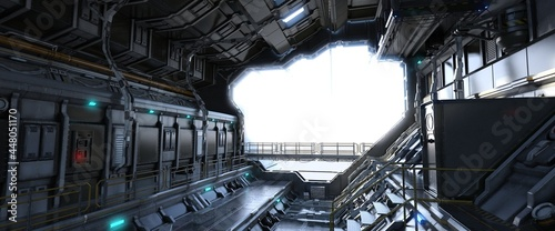 Photo A futuristic spaceship hangar on a white blank background where you can add your details