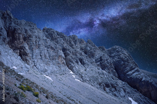 Платно night photo with milky way of the rocky complex of the gran sasso d'italia