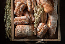 Made Of Rye. Homemade Baguettes Made Of Grains.