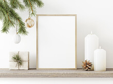 Vertical Wooden Frame Mockup With Hanging Pine Branch, Pinecone, Star, Candles And Gift Box On Rustic Rough Shelf. Minimal Christmas Interior Decoration. A4, A3 Format. 3d Rendering, Illustration