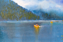 Couple In Love On An Orange Rubber Boat Floating On A Mountain Lake. Painting On Canvas