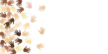 Male And Female Hands Of Different Skin Color Vector Illustration. Elections