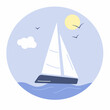 Sailboat and sun seascape on circle, isolated on white background. Vector illustration