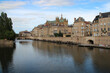 river moselle, buildings and saint-etienne cathedral in metz in lorraine (france)