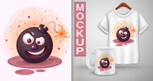 Cartoon Character Malicious Bomb T Shirt Template