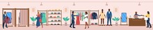 Diverse Dark Skin People Shopping At Fashion Boutique Shop. Man And Woman Choosing, Fitting, Buying Clothes In Fashionable Garment Store Enjoy Best Shop Assistant Service Vector Illustration