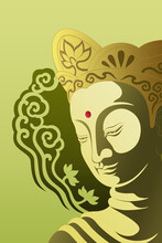 Buddha Illustration Green Background