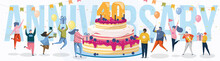 40 Year Anniversary Banner Template For Congratulation. Birthday, Marriage Or Company Success Achievement And Experience Celebration. Excited People With Cake Design Vector Illustration