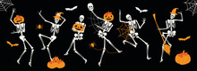 Funny Happy Halloween Skeleton Cartoon Character. Halloween Festive For Banner, Poster, Greeting Card, Party Invitation Poster Design With Pumpkin, Bat And Spider Web Vector Illustration On Black