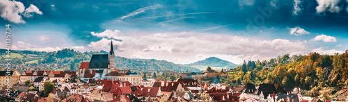 Billede på lærred Panoramic cityscape Cesky Krumlov, Czech republic