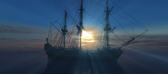 old ship sunset at sea 3d rendering