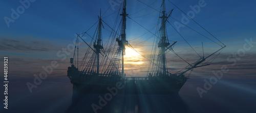 Fotografie, Obraz old ship sunset at sea 3d rendering