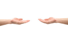 2 Asian Hands Open The Palm Of The Hand For Share And Get, Give And Take, Donate And Beg Or Any Actions Together On White Background. Clipping Path.