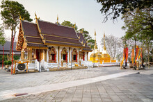 Wat Phra That Doi Tung Buddhist Temple And Environment, A Famous Temple And Buddhism Place. It's Settled On The Mountain In Chiang Rai Province, North Of Thailand.