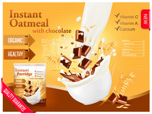 Instant Oatmeal With Chocolate Advert Concept Milk Flowing Into Bowl With Grain Chocolate Vector