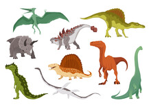 Dinosaurs Flat Icon Collection. Colored Isolated Prehistoric Reptile Monsters On White Background.  Cartoon Dino Animals Set Including Pteranodon, Triceratops, Allosaurus, Dimetrodon