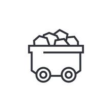 Minecart Or Mine Wagon Line Icon
