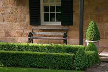 Berrima Australia, Wooden Seat On Porch Of Sandstone Cottage