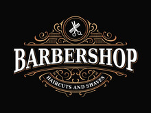 Barbershop Hairdresser Vintage Royal Elegant Luxury Victorian Ornamental Typographic Logo With Scissors And Comb