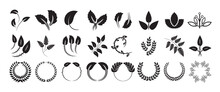 Handdrawn Leaves And Monogram. Leaf Logo And Icon Set. Floral Clipart And Icons. Leaf Sketches. Botanical Collection