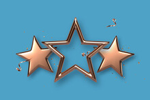 Three Golden Or Bronze Stars. Award, Winner Concept. Vector Illustration