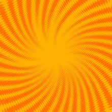Yellow And Orange Dotted Halftone Sunbeams Background..
