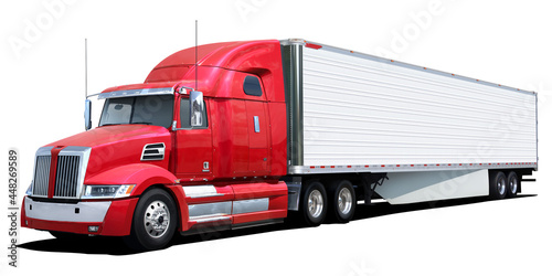 Fotografia Big american truck with red cab isolated on white background.
