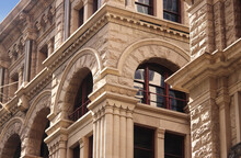 Close Up Of The Architectural Detailing Of A Refurbished Heritage Sandstone Building. Now Retail And Office Space. Former Headquarters For The American Equitable Life Assurance Society