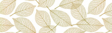 Seamless Pattern With  Leaf Veins.  Gold Color. Vector Illustration.
