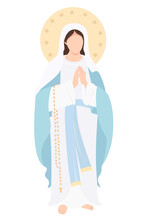 Holy Mary Mother Of God The Queen Of Heaven. Virgin Mary Stands With Her Hands Folded And Prays Meekly. Vector Illustration For Christian And Catholic Communities, Design, Decor Of Religious Holidays