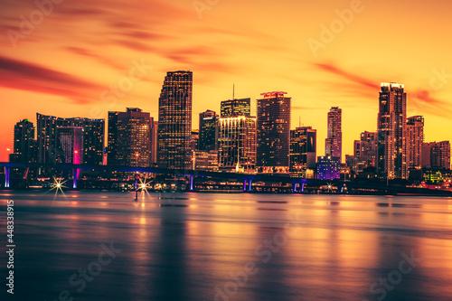 Fototapeta Miami Skyline at night sunset