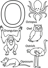 O Animals Names, Alphabet Coloring For Kids, Alphabet Animals Coloring Page, ABC Coloring, Preschool Education